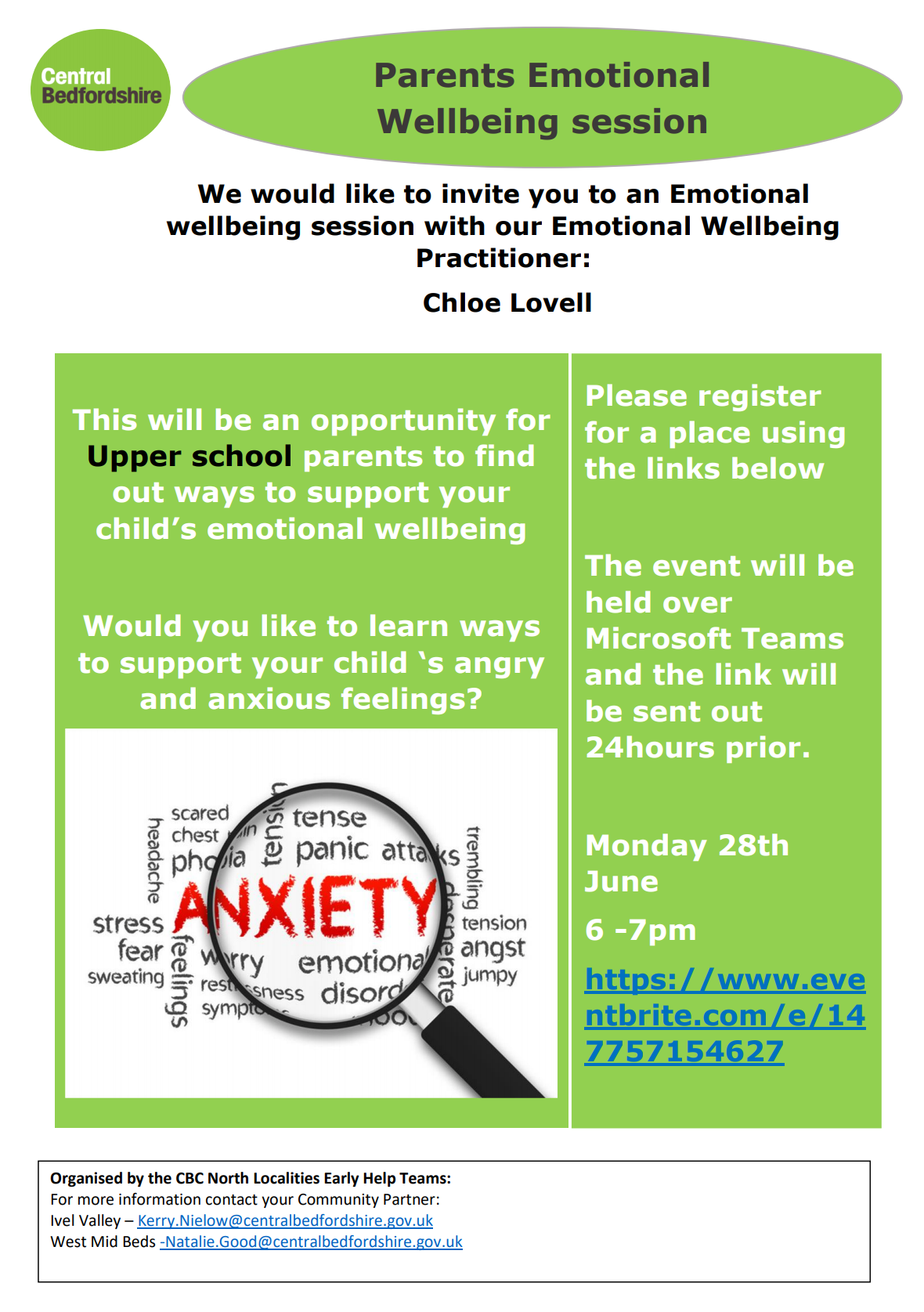 Parents Emotional Wellbeing Session - 28th June 2021